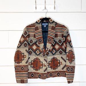 Vintage Southwestern Tribal Print Textured Blazer
